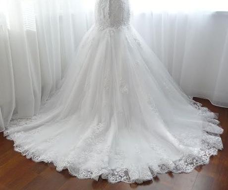 Romantické čipkované svadobné šaty, 38