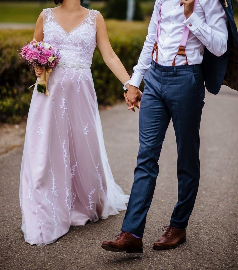 Boho svatební šaty pudrově růžové 82edce6c93