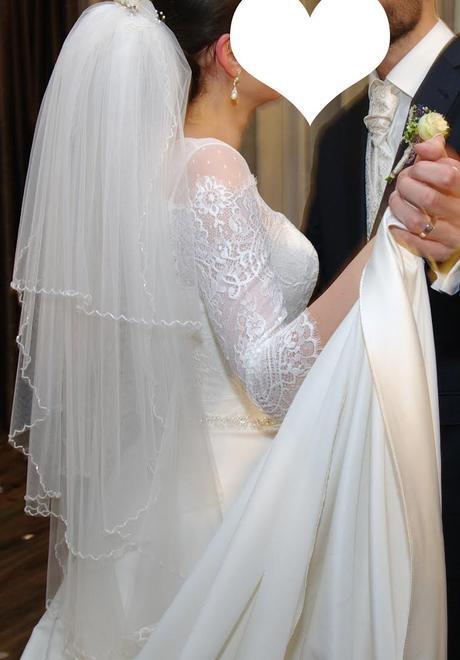 elegantné svadobné šaty s vlečkou, A-strih, 36