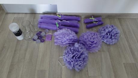 Komplet výzdoba z bílo fialkové (lila) svatby,
