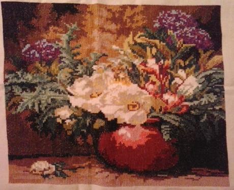 Vyšív.obraz-kvety vo váze-34x29,