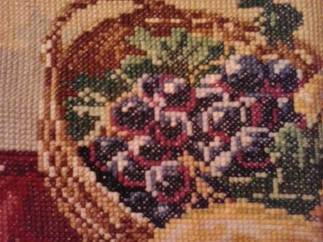 Vyšív.obraz-ovocie v košíku-42x22,
