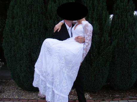Svadbne saty- čipka, dlhý rukáv, 38
