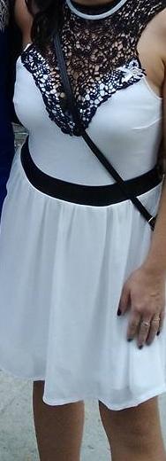 Bielo-čierne spoločenské šaty, 38