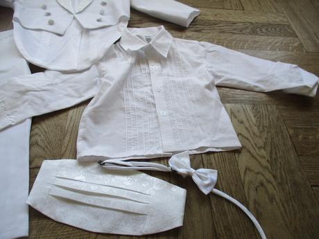 Biely frak 5ks sada obleceny jeden krat na svadbe, 86