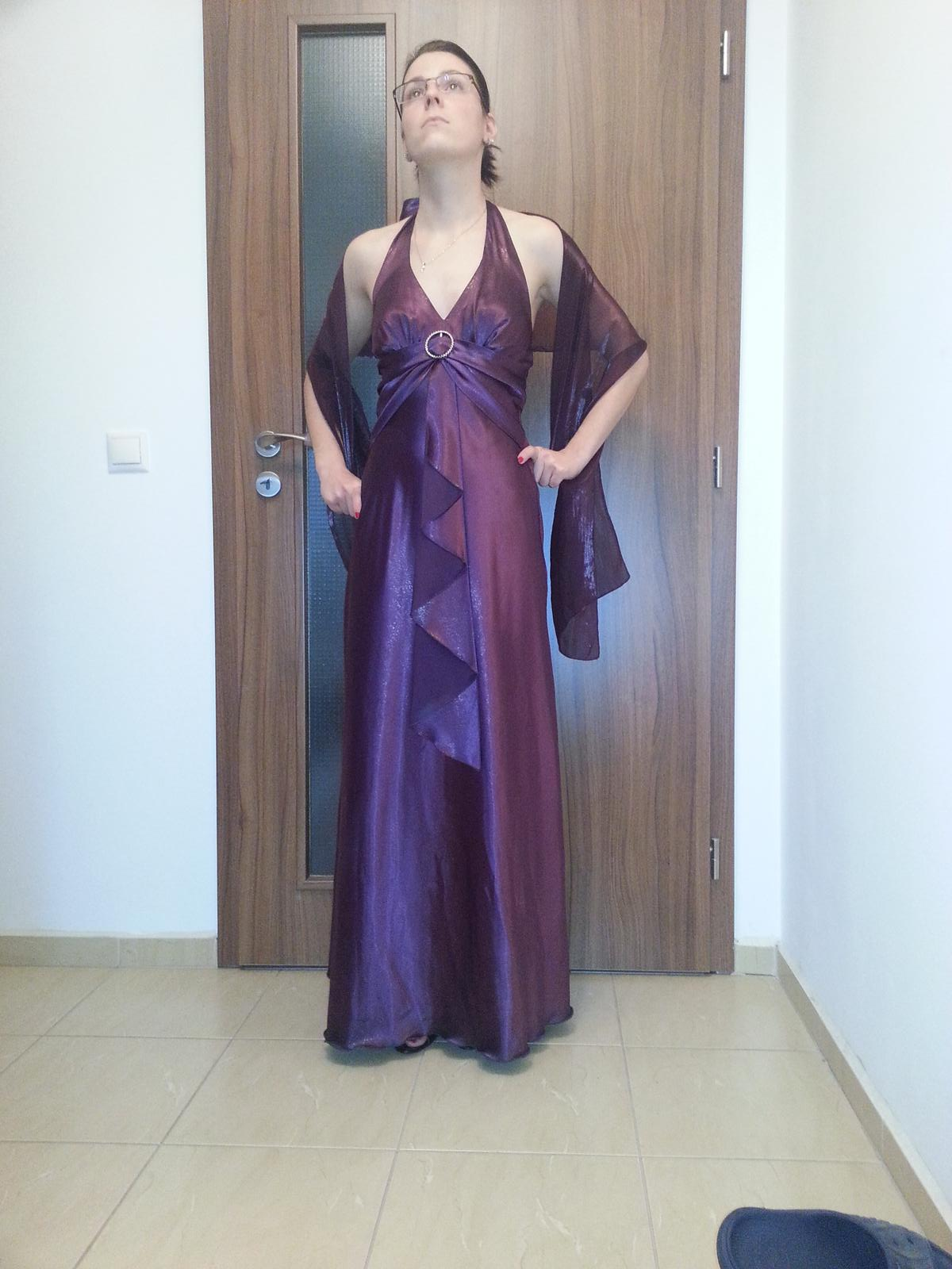 Spoločenské šaty fialové so zlatými trblietkami 770a384f3d2