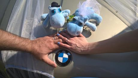 Figurky ženich a nevěsta hrošíci na auto ,