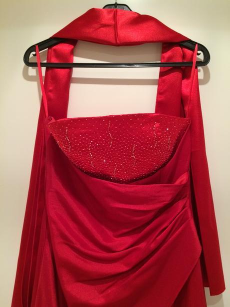 Tmavočervené korzetové spoločenské šaty, 40