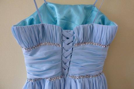 Luxusní modré plesové šaty, vel. M-XL / UNI, 42