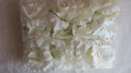 Textilní růže bílé - 12ks,