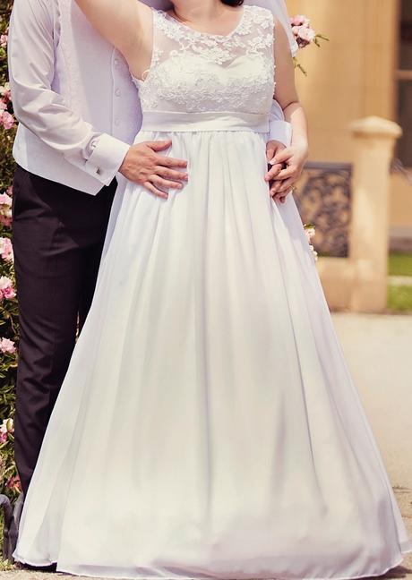 Svadobné šaty 40-44, vhodné aj pre tehotné nevesty, 42
