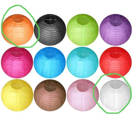 20 papírových  lampionů - oranžová a béžová,