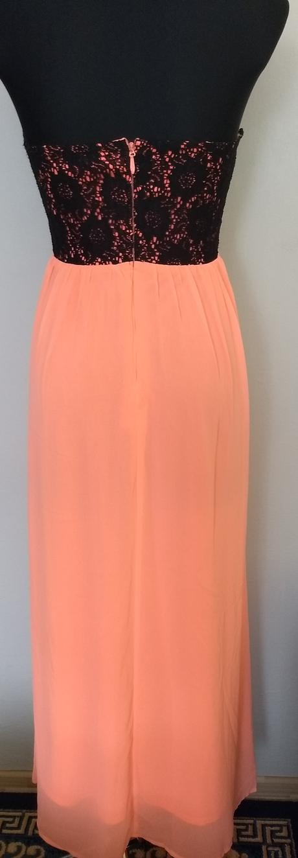Lososové šaty s čipkou, S