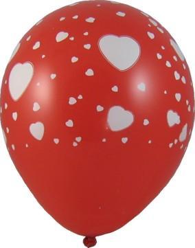 Nafukovací balónky červené s bílými srdíčky, 5 ks,