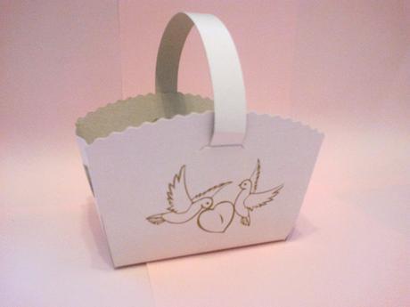 Svatební košíčky s ouškem, 1 ks,