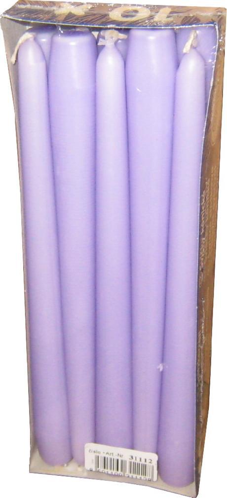 Svíčka kónická světle fialová 24,5 cm,