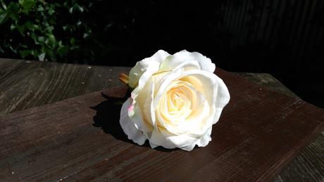 umělá krémová růže,