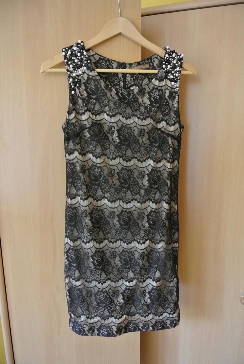 Čierne šaty s perličkami veľ. 36-38 e494e5902fe