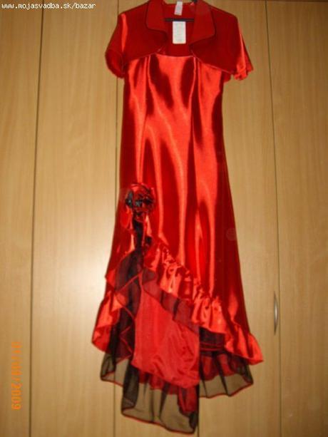 zaujímavé červené šaty (redový tanec/promočné38-40, 38