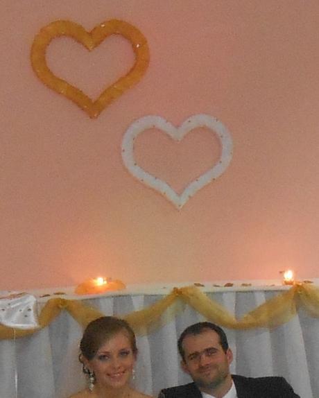Svadobné srdcia - zlaté a biele,