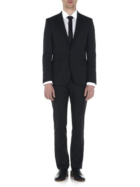 Černý oblek + košile, 44