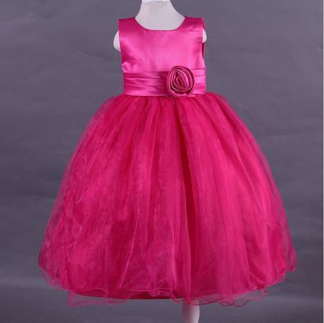 Družičkové šaty - podlahová délka - tmavě růžové, 116