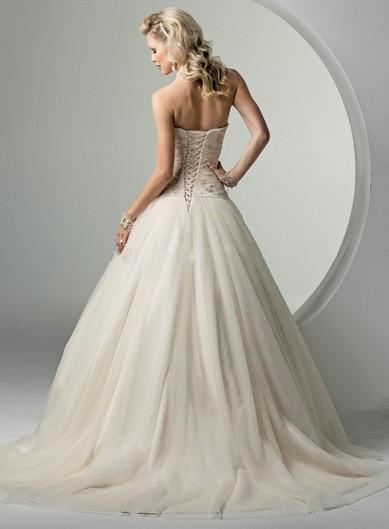 Hladké svatební šaty - s mašlí - 3 barvy, 38