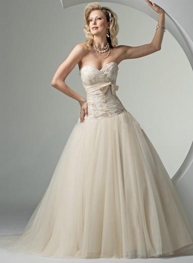 Hladké svatební šaty - s mašlí - 3 barvy, 40