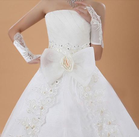 Luxusní svatební šaty + rukavice, 42
