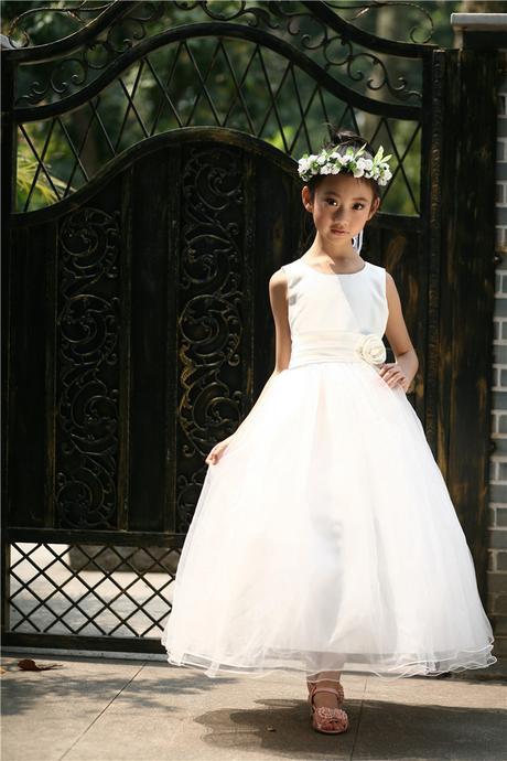 Princeznovské šaty, podlahová délka - bílé, 128