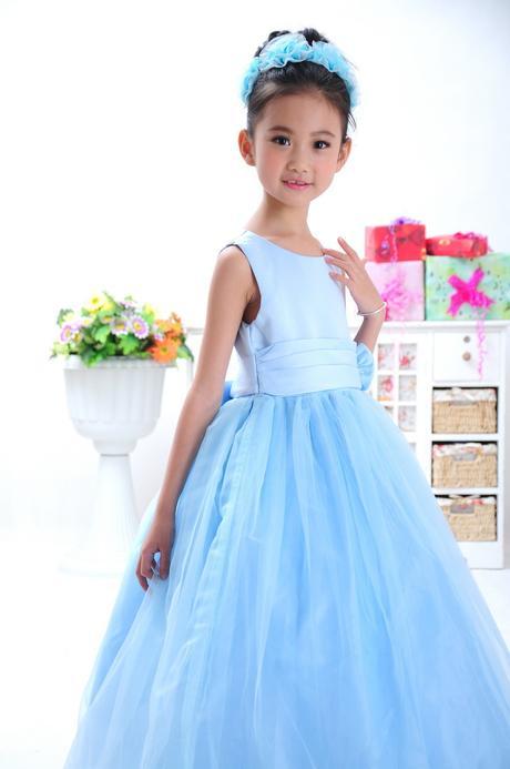 Princeznovské šaty, podlahová délka - modré, 110