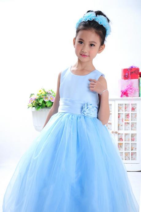 Princeznovské šaty, podlahová délka - modré, 140