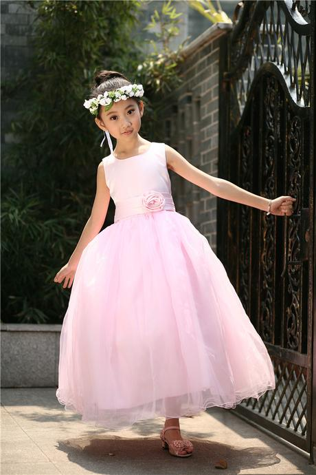 Princeznovské šaty, podlahová délka, světle růžové, 116