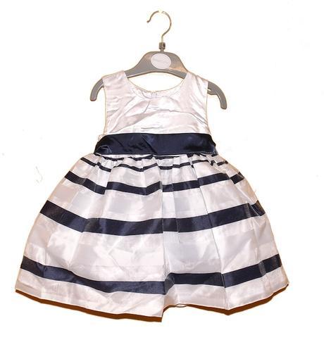 Saténové šaty - bílo/modré 2,3,4,5 let, 104