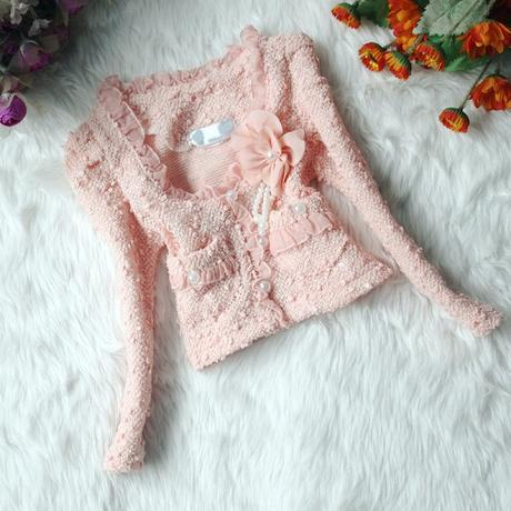 Sváteční set - šaty + kabátek - růžový, 116
