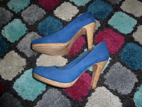 modré boty na vyšším podpadku, 40