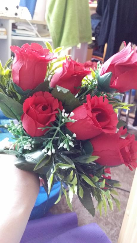 Umělé růže - trs (3ks),
