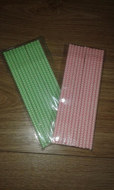 papírová brčka - růžová a zelená mint,
