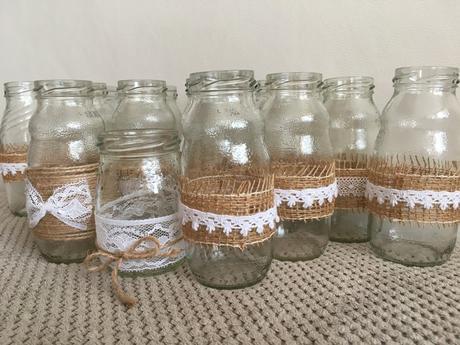 Vintage skleničky s krajkou - 19 ks,