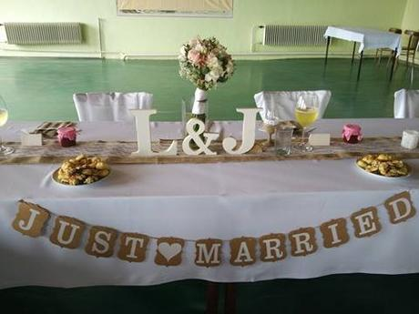 papírová nápis- JUST MARRIED,
