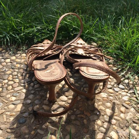Kožené hnědé páskové boty, 39