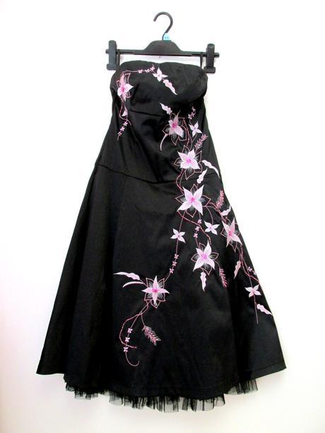 Černo růžové šaty s květy Jane Norman , S