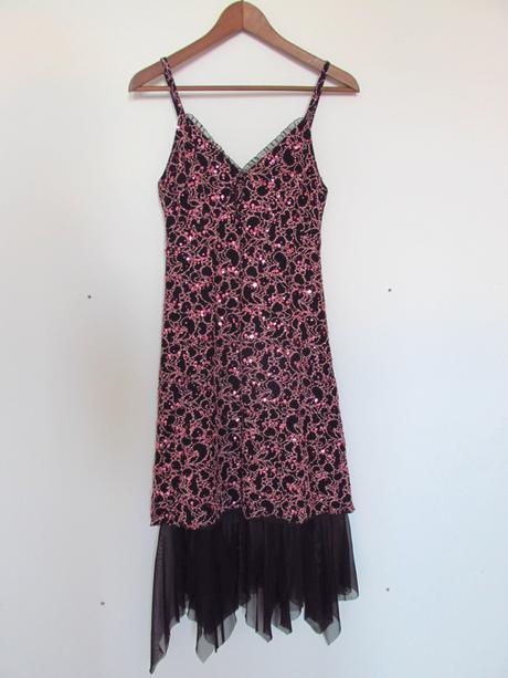 Růžovo černé společenské šaty s flitry , 36