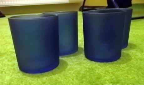 Svícny tmavě modré 4ks - nepoužité,
