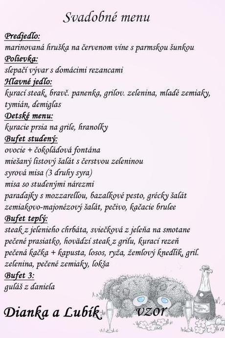 svadobné oznámenia a menu,