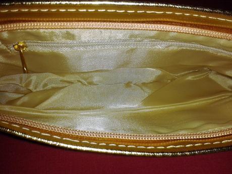 Nenosená zlatá kabelka +zlatá štóla/ šál H&M, 24