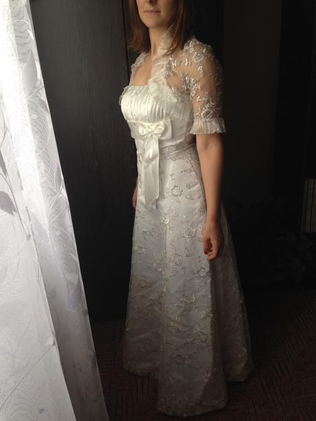 svadobné šaty šampaň bez vlečky (+ vesta), 36