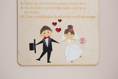 Závesná tabuľa pre mladomanželov,