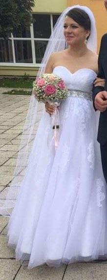 svadobné šaty- vhodné aj pre tehotné, 40