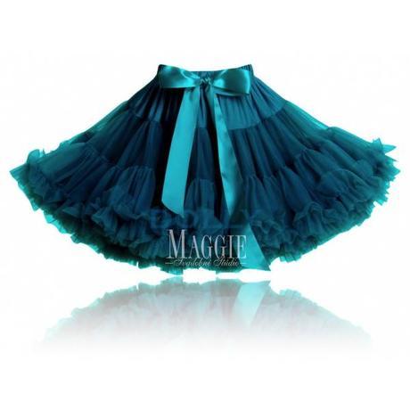 Dolly sukňa-Modrý vtáčik-petrolejová-veľ. Petite,